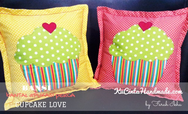 Bantal Aplikasi Perca (Cupcake Love)